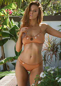Tan Halter Bikini Top with Cutout Peek-A-Boo Detail