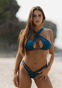 Cheeky Cut Out Bikini Bottom in Shimmering Teal