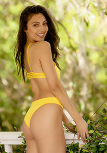 Naturale Collection Banded Brazilian Bikini Bottom in Popcorn Yellow