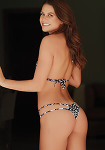 2-String Tri-Back Thong in Black White Ikat 333-1094-31600