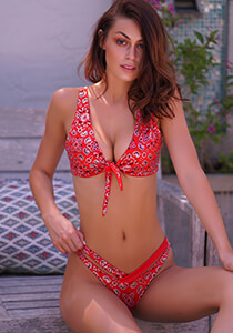 Red Bandana with Red Coat - Knotted Sport Bikini Top 333-1109-93200