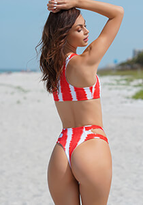Red White Tie Dye Stripe - High Waist Cutout Cheeky 333-1110-46100