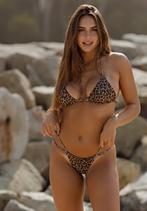 Leopard Thong Bikini Bottom with Double string side strap