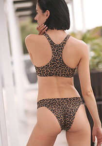Leopard Brazilian Bikini Bottom with Banded Waist