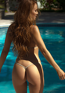 Gold with Nude Mermaid Mesh - Teeny Thong 334-8430-22000