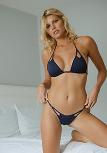B.Luxe Bliss - Peek-A-Boo Mid-Rise Cheeky in Navy 336-6320-31700