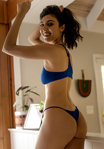 Brazilian Cheeky Thong Panty in Blue Rebel