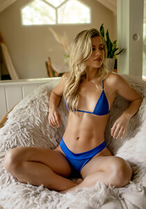 Blue Brazilian Panty with Banded Waist
