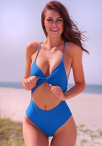Knotted One Piece in Pacific Blue 119-6630-62500