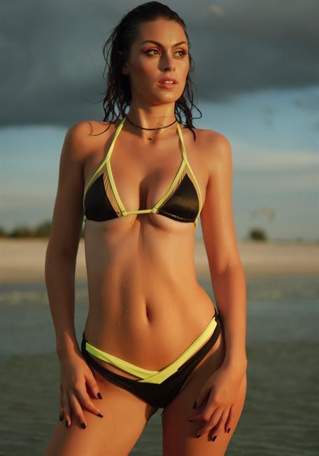 33a22f6ab2644 Nude Mesh Insert String Triangle Bikini Top in Black with Neon Yellow -  TeenyB Bikini Couture