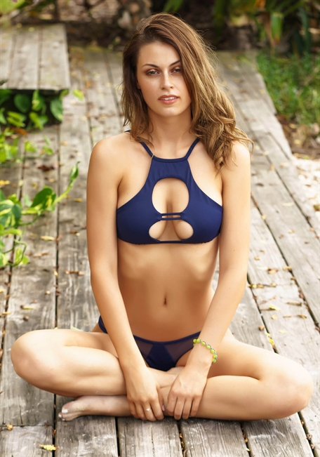 74efc71b08e1a7 Strappy Cutout Crop with peek-a-boo center keyhole in timeless Navy -  TeenyB Bikini Couture