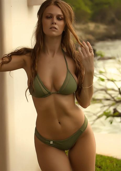 f0a05c35dddad Mesh Insert String Triangle Bikini Top Swimsuit in Army Green - TeenyB  Bikini Couture
