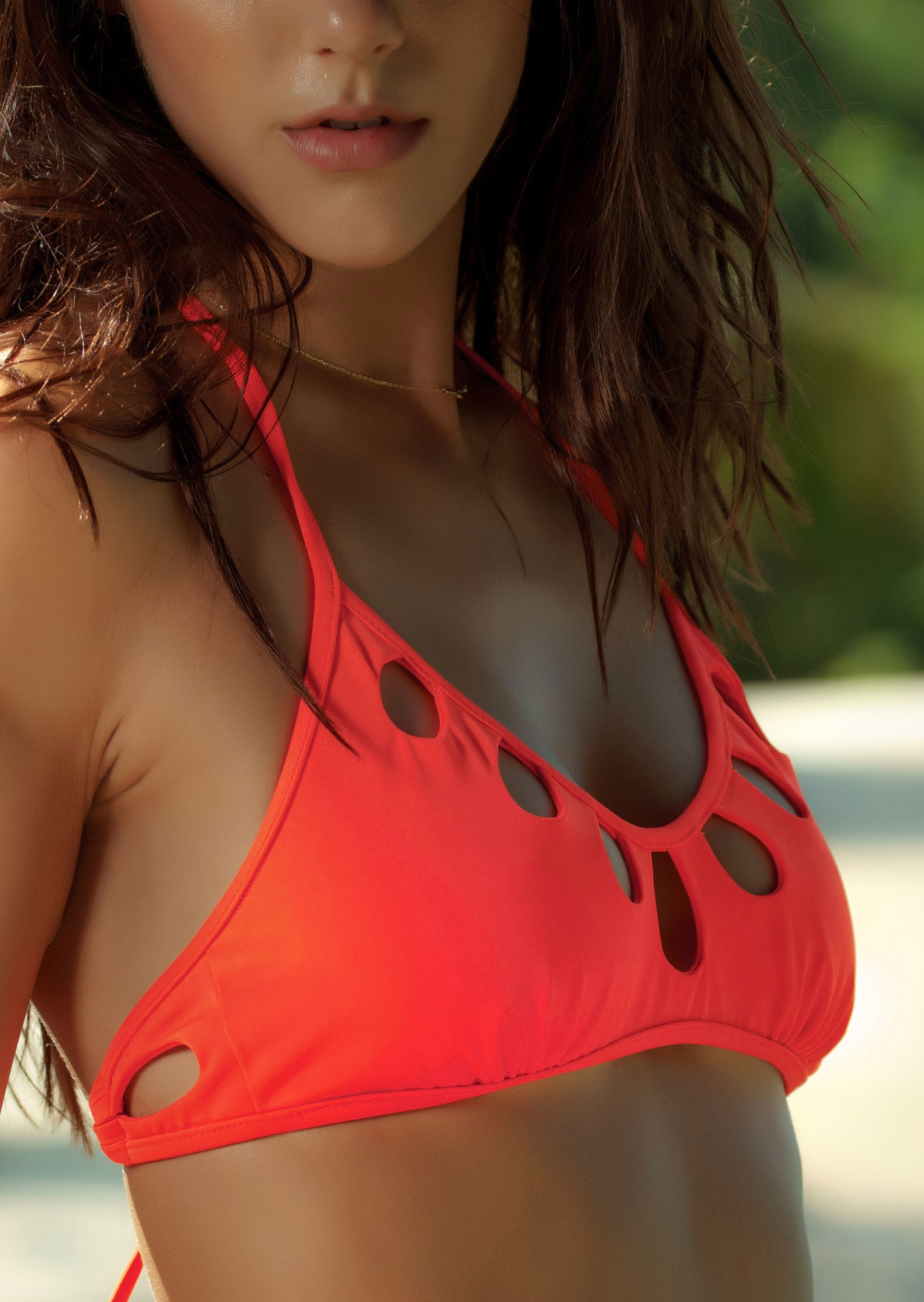 779b2ca950 Peek-A-Boo Halter Bralette Bikini Top in Neon Red Orange - TeenyB ...