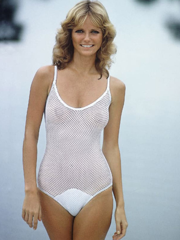 Cheryl Tieg Sports Illustrated Swimsuit edition white fishnet photo 1978