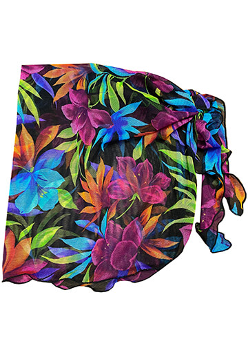 Teeny Sarong Cover-Up in Neon Tropical Leaf Mesh 556-8410-57000