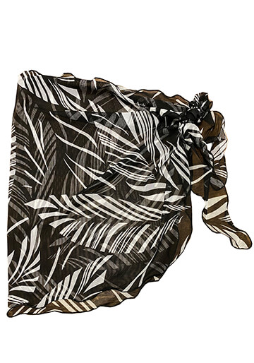 Teeny Sarong Cover-Up in Black White Leaf Mesh 556-8630-57000