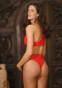 High Waist Mesh Insert Cheeky in Red Coat 277-6550-46000