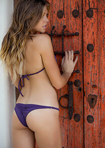 Brazilian Half Pucker Bikini Bottom in Purple