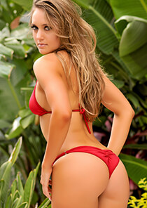 Brazilian Half Pucker Bikini Bottom in Red