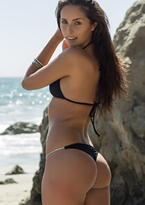 Thong in Black with Crystal Chain Sides