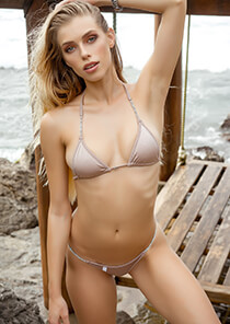 Pinkish Tan Triangle Bikini with Crystal Chain